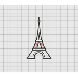Eiffel Tower Applique Embroidery Design in 3x3 4x4 5x5 and 6x6 Sizes