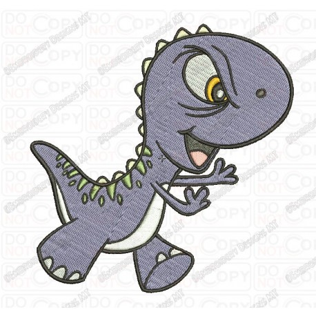 Angry Cartoon Baby T-rex Dinosaur Embroidery Design in 3x3 4x4 and 5x7 Sizes
