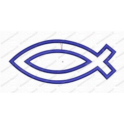 Jesus Fish Religious Religion Applique Embroidery Design in 2x2 3x3 4x4 and 5x7 Sizes