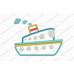 Tug Boat 3 Layer Applique Embroidery Design in 4x4 and 5x7 Sizes