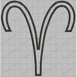 Aries Zodiac Sign Applique Embroidery Design in 4x4 and 5x7 Sizes