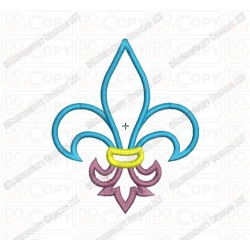 Fleur De Lis 3 Layer Applique Embroidery Design in 3x3 4x4 and 5x7 Sizes