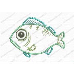 Fish Applique Embroidery Design in 3x3 4x4 and 5x7 Sizes