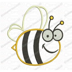 Happy Bumble Bee Flying Wings Applique Embroidery Design in 3x3 4x4 and 5x7 Sizes