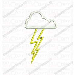 Cloud Lightning Bolt Applique Embroidery Design in 4x4 and 5x5 Sizes