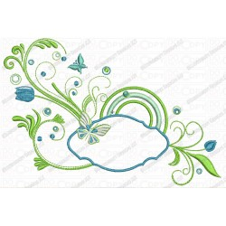 Floral Pattern with Butterfly Embroidery Design in 4x4 and 5x7 Sizes