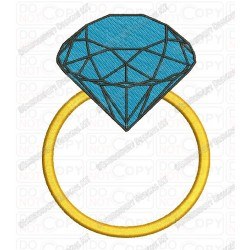 Diamond Ring Mini Full Stitch Embroidery Design in 1x1 2x2 3x3 4x4 and 5x7 Sizes
