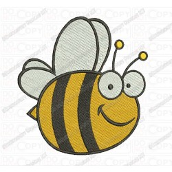 Happy Bumble Bee Flying Wings Full Stitch Embroidery Design in 2x2 3x3 4x4 and 5x7 Sizes
