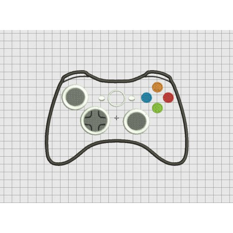 Video Game Controller Microsoft XBox 360 Style Applique Embroidery Design in 4x4 and 5x7 Sizes