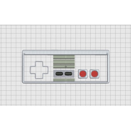 Video Game Controller Nintendo NES Style Applique Embroidery Design in 4x4 and 5x7 Sizes