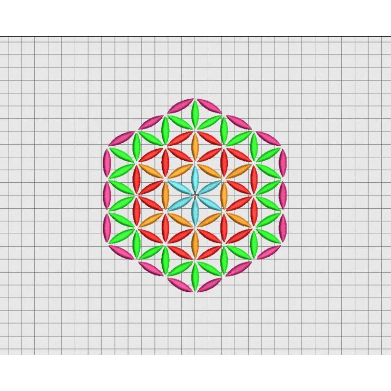 Geometric pattern hexagon embroidery design in