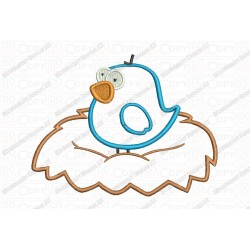 Bird in Nest Applique Embroidery Design in 3x3 4x4 and 5x7 Sizes