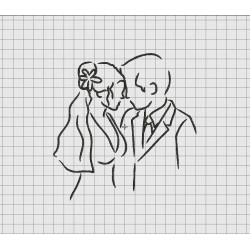 Wedding Couple Outline Embroidery Design in 4x4 5x7 and 6x10 Sizes