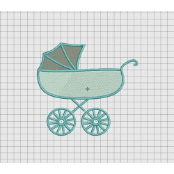 Baby Stroller Embroidery Design in 3x3 4x4 5x5 and 6x6 Sizes