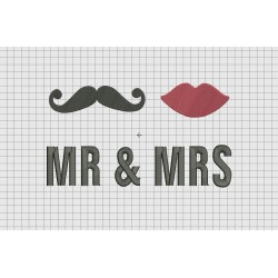 Mr. and Mrs. Moustache Lips Wedding Announcement Embroidery Design in 4x4 5x7 and 6x10 Sizes