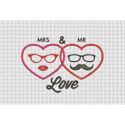 Mr. and Mrs. Glasses Moustache Wedding Announcement Embroidery Design in 4x4 5x7 and 6x10 Sizes