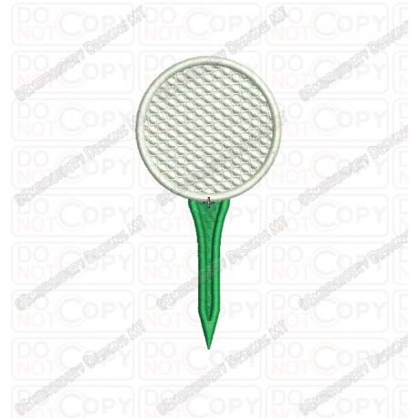 Golf Ball On Tee Embroidery Design In 3x3 4x4 And 5x5 Sizes Pixels