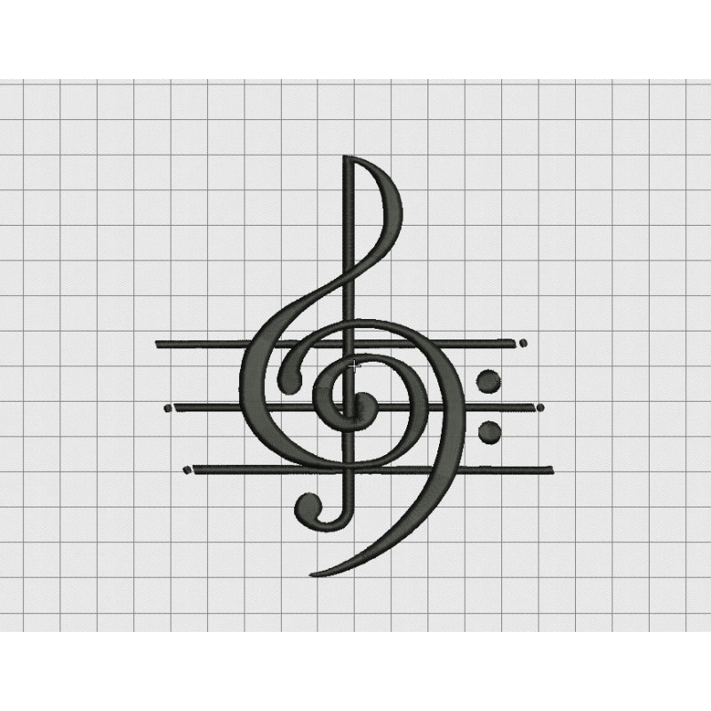 music art treble clef musical note embroidery design in