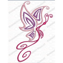 Butterfly Tattoo Style Embroidery Design in 4x4 and 5x7 Sizes