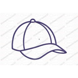 Baseball Hat Applique Embroidery Design in 3x3 4x4 and 5x7 Sizes