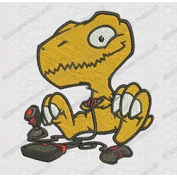 Dinosaur Playing Games Cartoon T-rex Embroidery Design in 3x3 4x4 and 5x7 Sizes