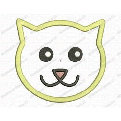 Cat Face Applique Embroidery Design in 2x2 3x3 4x4 and 5x7 Sizes