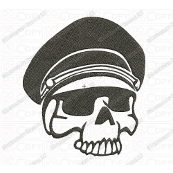 Military Skull with Hate Full Stitch Embroidery Design in 3x3 4x4 and 5x7 Sizes