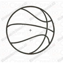 Basic Basketball Applique Embroidery Design in 1x1 2x2 3x3 4x4 5x5 and 6x6 Sizes