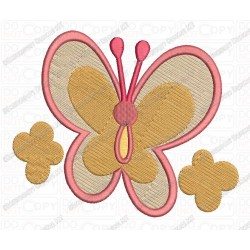 Butterfly 2 Flowers Full Stitch Embroidery Design in 3x3 4x4 and 5x7 Sizes