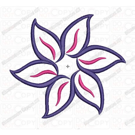 Six Petal Fancy Flower Applique Embroidery Design In 3x3 4x4 And 5x7