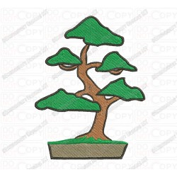 Bonsai Tree Embroidery Design in 2x2 3x3 4x4 and 5x7 Sizes