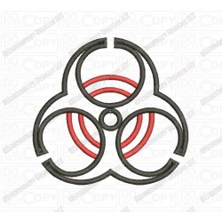 Bio Hazard Applique Embroidery Design in 3x3 4x4 and 5x7 Sizes