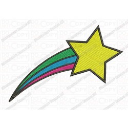 Shooting Star with Rainbow Trail Embroidery Design in 2x2 3x3 4x4 and 5x7 Sizes