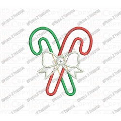 Candy Cane and Bow Applique Embroidery Design in 3x3 4x4 and 5x5 Sizes