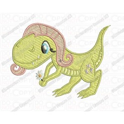 Flutter Inspired Dinosaur T-rex Embroidery Design in 3x3 4x4 and 5x7 Sizes