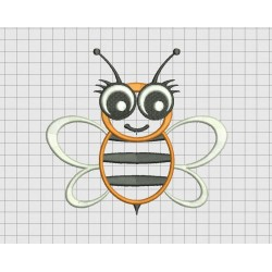 Bee Big Eyes Flying Wings Applique Embroidery Design in 3x3 4x4 5x5 and 6x6 Sizes