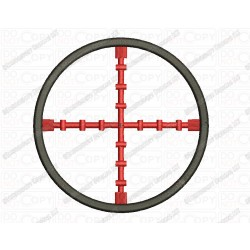 Rifle Crosshair Embroidery Design in 2x2 3x3 4x4 and 5x7 Sizes