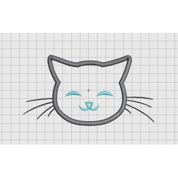 Cat Face Whiskers Applique Embroidery Design in 3x3 4x4 5x5 and 6x6 Sizes
