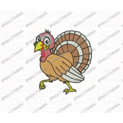 Thanksgiving Turkey Happy Embroidery Design in 4x4 and 5x7 Sizes