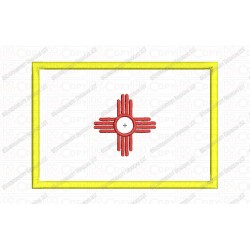 New Mexico NM State Flag Applique Embroidery Design in 4x4 and 5x7 Sizes