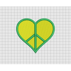 Heart Peace Sign Embroidery Design in 2x2 3x3 4x4 and 5x5 Sizes