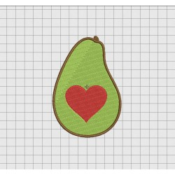 Avocado Heart Embroidery Design in 2x2 3x3 4x4 5x5 and 6x6 Sizes