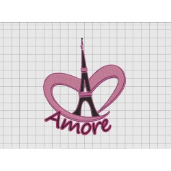 Eiffel Tower Amore Love Embroidery Design in 4x4 5x5 and 6x6 Sizes
