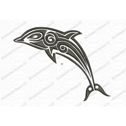Dolphin Tribal Tattoo  Fill Stitch Embroidery Design in 3x3 4x4 and 5x7 Sizes