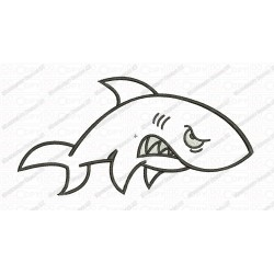 Angry Shark Applique Embroidery Design in 3x3 4x4 and 5x7 Sizes