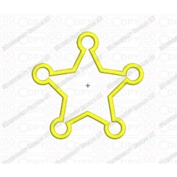 Sheriff 5 Point Star Applique Embroidery Design in 3x3 4x4 and 5x7 Sizes