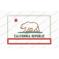 California State Flag Applique Embroidery Design in 4x4 and 5x7 Sizes