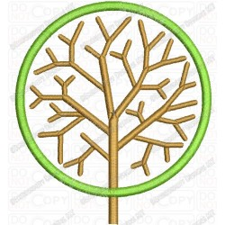 Round Tree Applique Embroidery Design in 4x4 and 5x7 Sizes