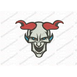 Devil Skull and Horns Full Stitch Embroidery Design in 3x3 4x4 and 5x7 Sizes