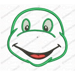 Turtle Head Face Applique Embroidery Design in 2x2 3x3 4x4 and 5x7 Sizes